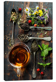 Canvas print  Tea with honey, wild berries and flowers