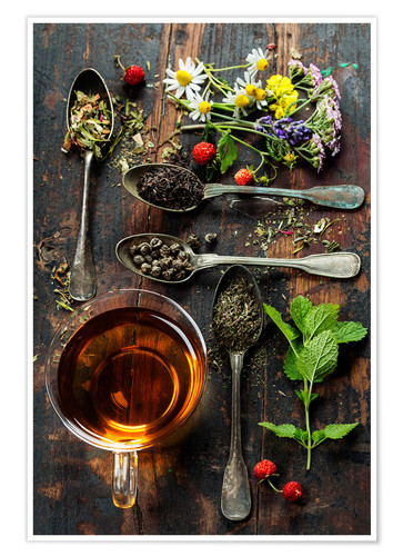Premium poster Tea with honey, wild berries and flowers