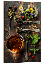 Wood print  Tea with honey, wild berries and flowers