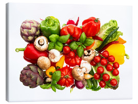 Canvas print  fresh vegetables and herbs on white