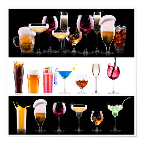 Premium poster drinks - beer, wine, cocktail, juice, champagne, scotch, soda