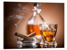 Acrylic print  Glass of whiskey and a cigar