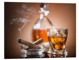Aluminium print  Glass of Whiskey and a Cigar