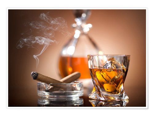 Glass Of Whiskey And A Cigar Posters And Prints