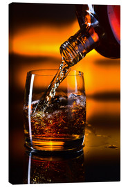 Canvas print  whiskey and ice on a glass table