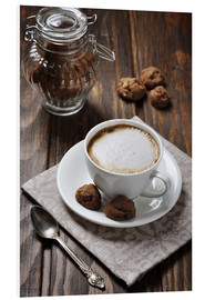 Foam board print  Cup of coffee with cookies