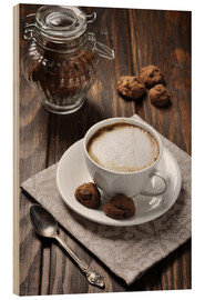 Wood print  Cup of coffee with cookies