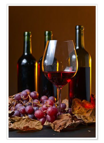 Premium poster red wine with grapes and vine leaves