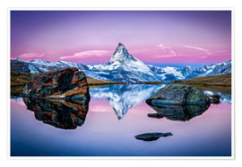 Poster Stellisee and Matterhorn in the Swiss Alps