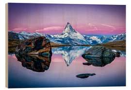 Wood print  Stellisee and Matterhorn in the Swiss Alps - Jan Christopher Becke
