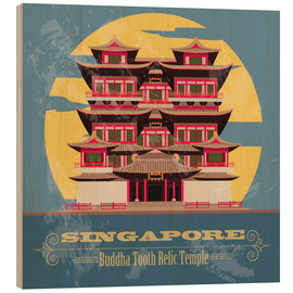 Wood print  Singapore - Buddha Tooth Relic Temple