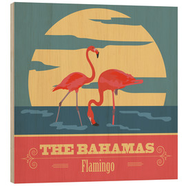 Wood print  The Bahamas - Flamingo