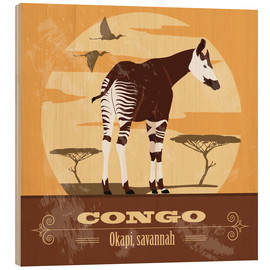 Wood print  Congo - Okapi - Kidz Collection