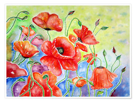 Poster Gossip poppies poppies painting