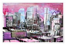Premium poster New York, Pink Cityscape