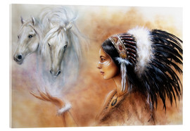 Acrylic print  American Indian with horses