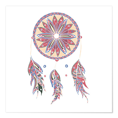Premium poster Dream Catcher red-blue