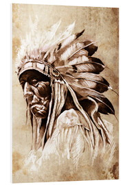 Foam board print  Native American elder