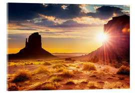 Acrylic print  Sunset at the sisters in Monument Valley, USA