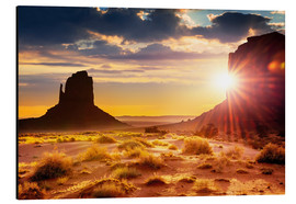 Aluminium print  Sunset in Monument Valley, USA