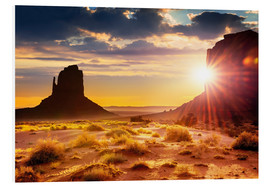 Foam board print  Sunset in Monument Valley, USA