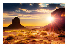 Premium poster  Sunset in Monument Valley, USA