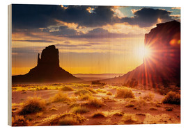 Wood print  Sunset at the sisters in Monument Valley, USA