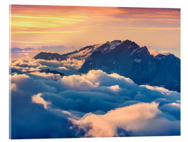 Acrylic print  Sunrise on a foggy Val di Fassa valley with passo Sella, Dolomites
