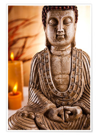 Premium poster Buddha statue with candles