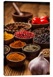 Canvas print  Colorful spices in bowls
