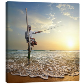 Canvas  fisherman on stick on Indian ocean, Sri Lanka
