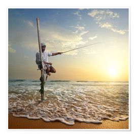 Premium poster  fisherman on stick on Indian ocean, Sri Lanka