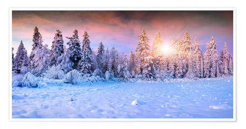 Premium poster Winter Sunrise in the Mountain Forest