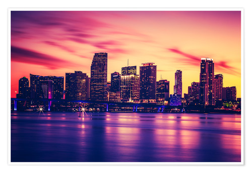 Premium poster Miami at sunset, USA