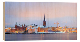 Wood print  Panoramic cityscape of Stockholm, Sweden