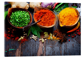 Acrylic glass  Colorful spices diversity