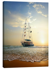 Canvas print  Sailing ship on the waves of the ocean