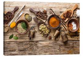 Canvas  Spices and kitchen utensils