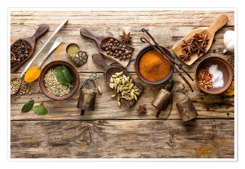 Poster Spices and kitchen utensils