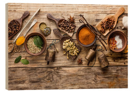 Wood print  Spices and kitchen utensils