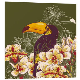 Foam board print  Toucan olive
