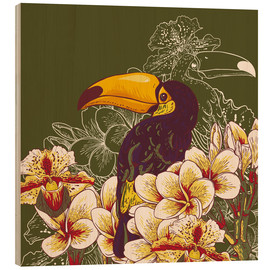 Wood print  Toucan olive