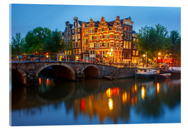 Acrylic glass  Night city view of Amsterdam