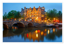 Poster  Night city view of Amsterdam