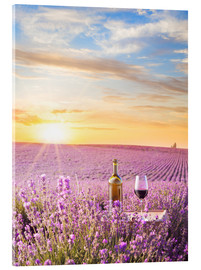 Acrylic print  Bottle of wine in a lavender field