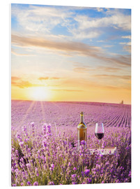 Foam board print  Bottle of wine in a lavender field