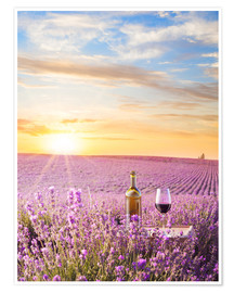 Poster  Bottle of wine in lavender field