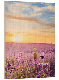 Wood  Bottle of wine in lavender field