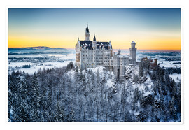 Premium poster  Neuschwanstein in the snow