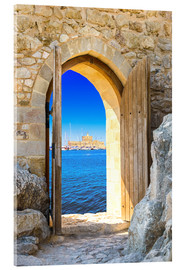 Acrylic print  open door in old fortress
